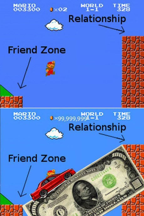 mario, video game, friend zone, relationship, money, car