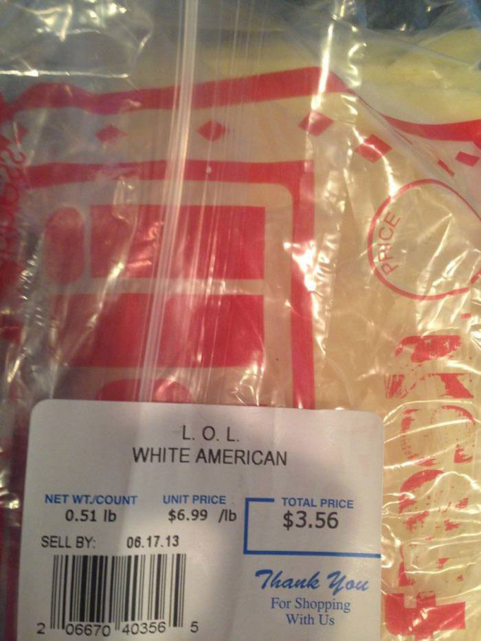 lol white american, cheese, label