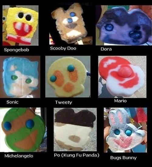 cartoon character, treats, fail, ice cream