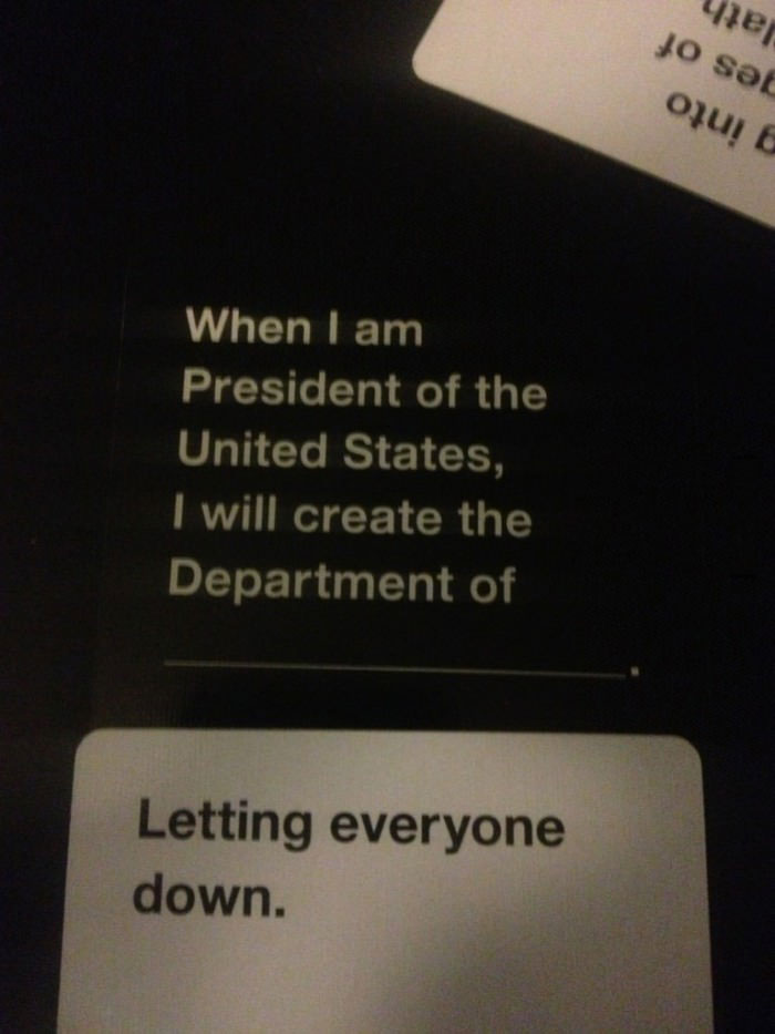 board game, cards, president, department of letting everyone down