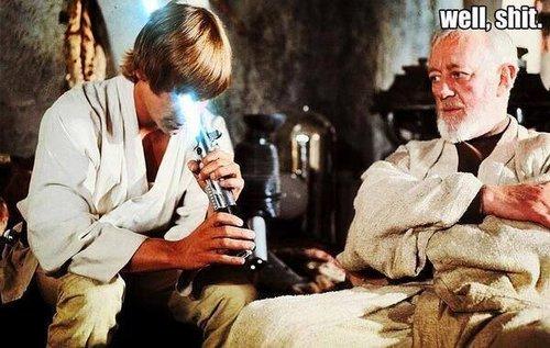 luke skywalker, light saber, well shit, star wars