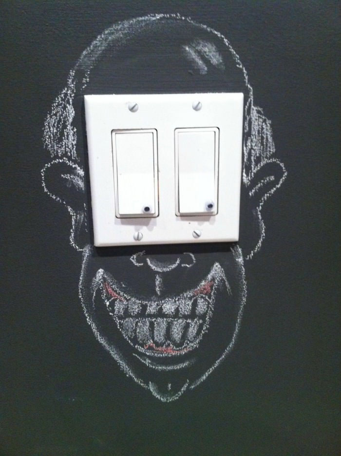 light switch, art, hacked irl, eyes, face, creepy