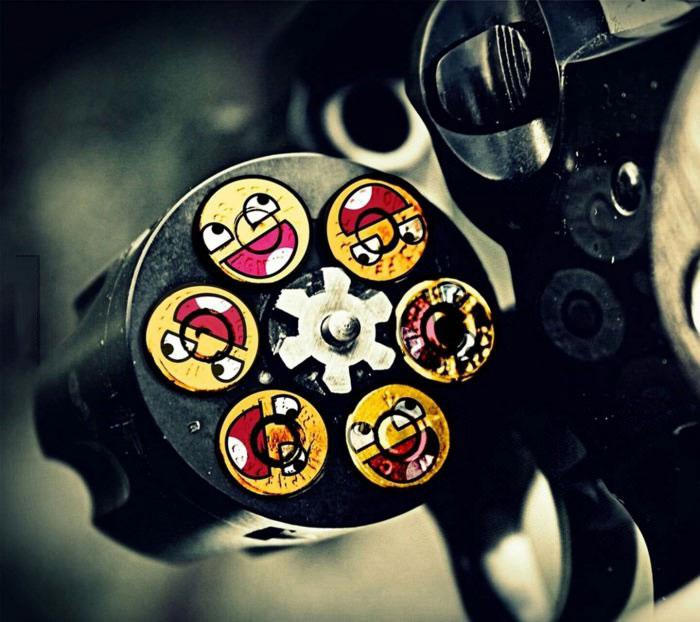 gun, bullets, revolver, happy faces