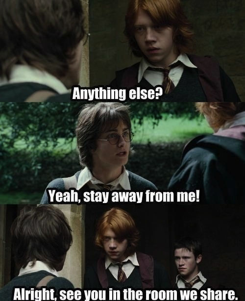 friends, fight, harry potter, ron, shared room