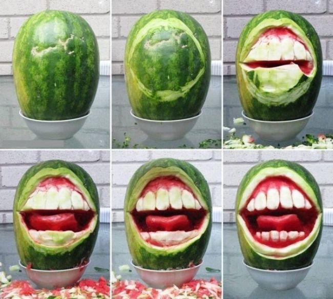 watermelon, carving, mouth, teeth, gums, art
