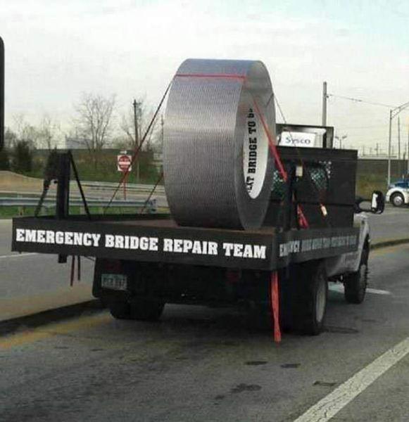 emergency bridge repair team, duct tape, giant, truck