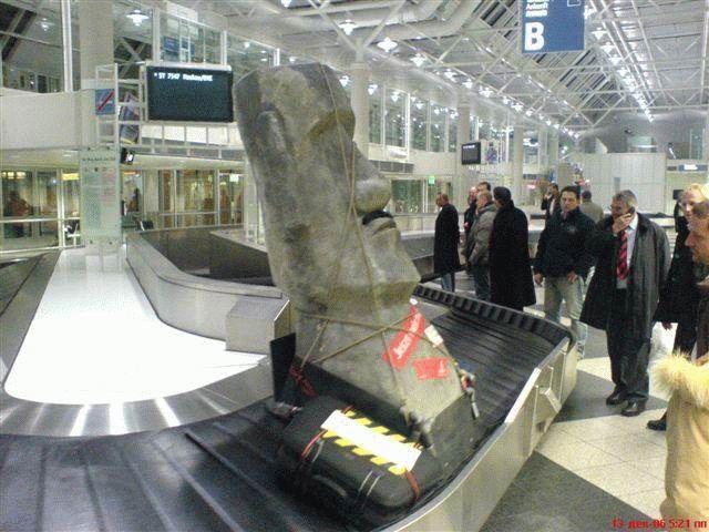 baggage retrieval, easter island head, wtf, ariport terminal