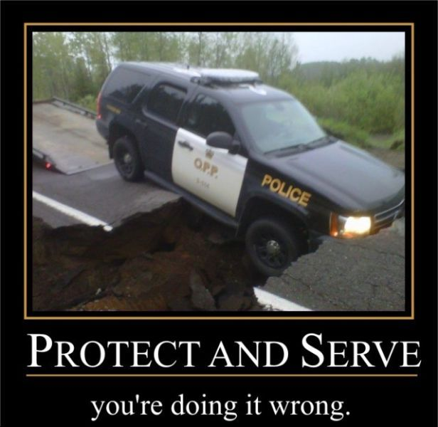 motivation, protect and serve, police car, fail, road broken