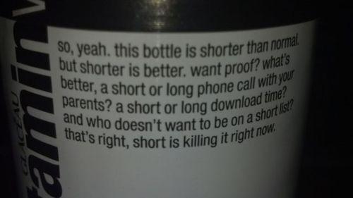 bottle, short, lol