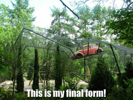 this is my final form!, giant spider car thing in forest, wtf