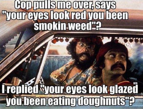 cop, pull over, weed, donuts, red, glazed, cheech and chong