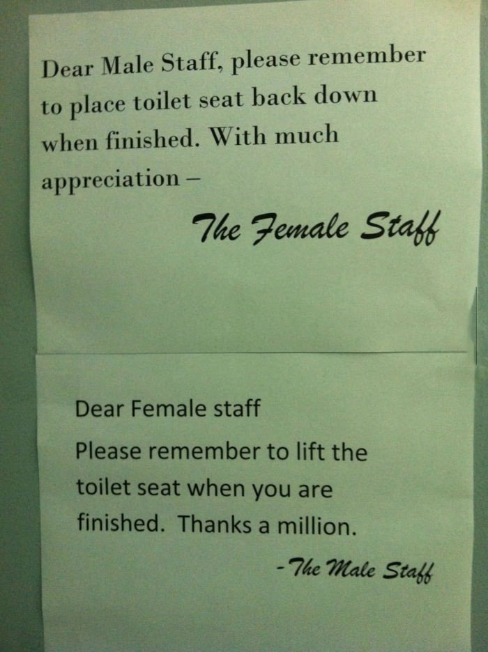 staff, female, male, toilet seat, unisex bathroom