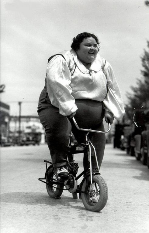 fat woman, bicycle, wtf, black and white
