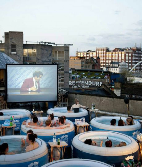 outdoor movie, hot tub, win