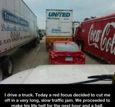 traffic jam, truck, story, cut off