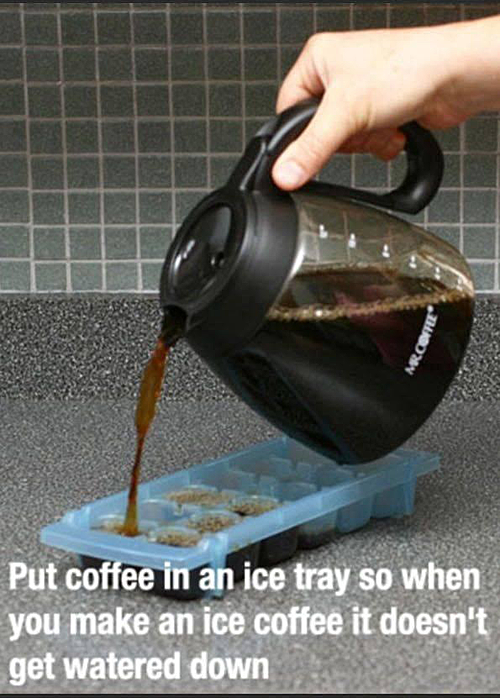 life hack, ice coffee, ice cube tray
