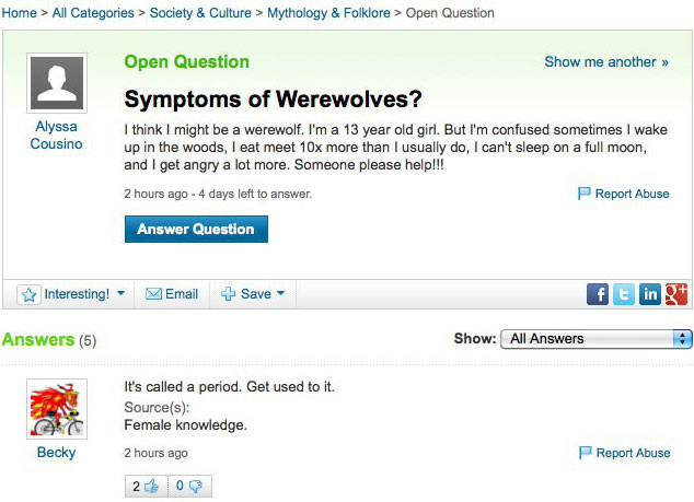 werewolf, yahoo answers, questions, period