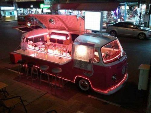 mobile bar, vw, van, win