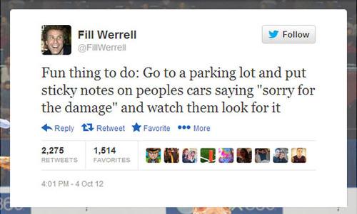 twitter, will ferrell, troll, parking lot, cars, note, damage