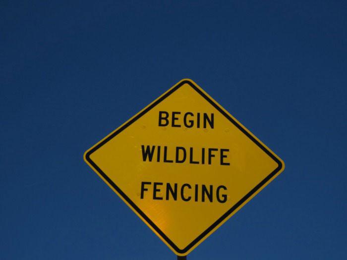 begin wildlife fencing, sign, wtf