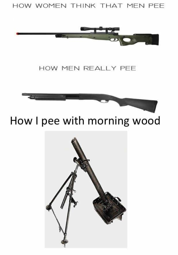 how women think that men pee, how men really pee, shot gun, how I pee with morning wood