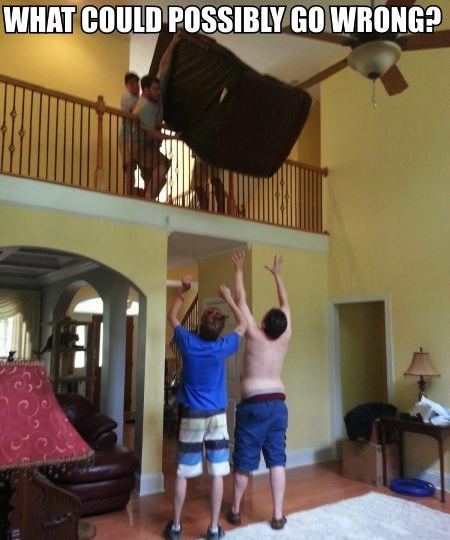 what could possible go wrong, guys moving sofa by dropping it from the second floor and trying to catch it
