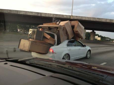 moving day, car, furniture, wtf, dangerous