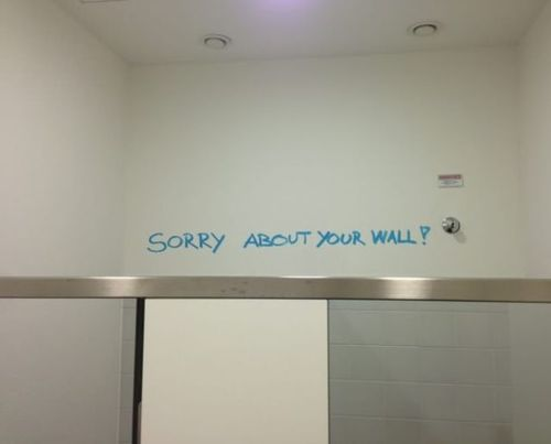 graffiti, sorry, wall, lol, irony
