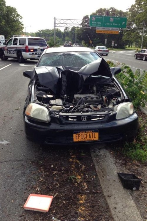 car, accident, vanity plate, epic fail