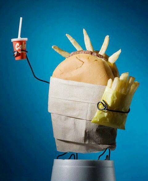 statue of liberty, parody, fast food, burger, fries, cola