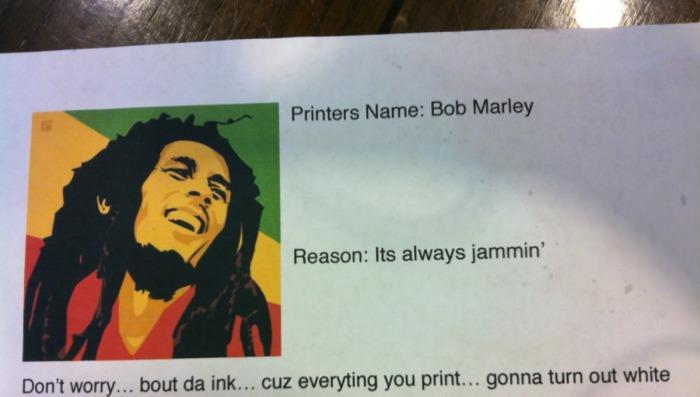 bob marley, printer, jammin', wordplay