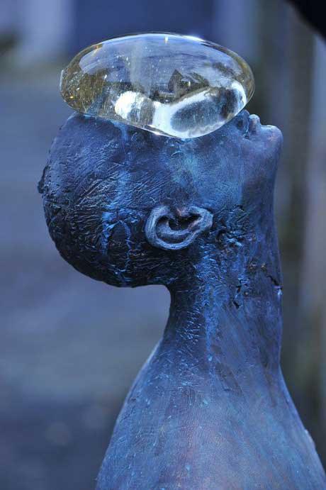 water, drop, statue, figurine, face