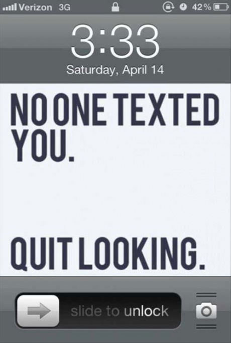 iphone home screen, txt, quit looking