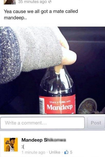mandeep, facebook, share a coke
