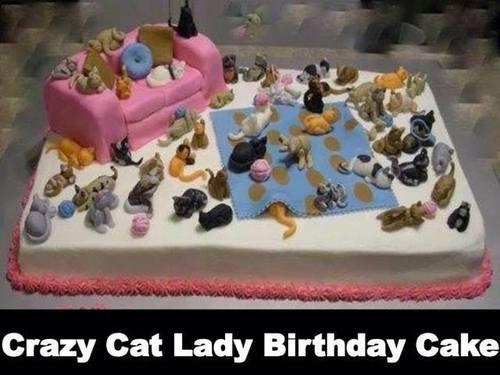 birthday cake, crazy cat lady, art