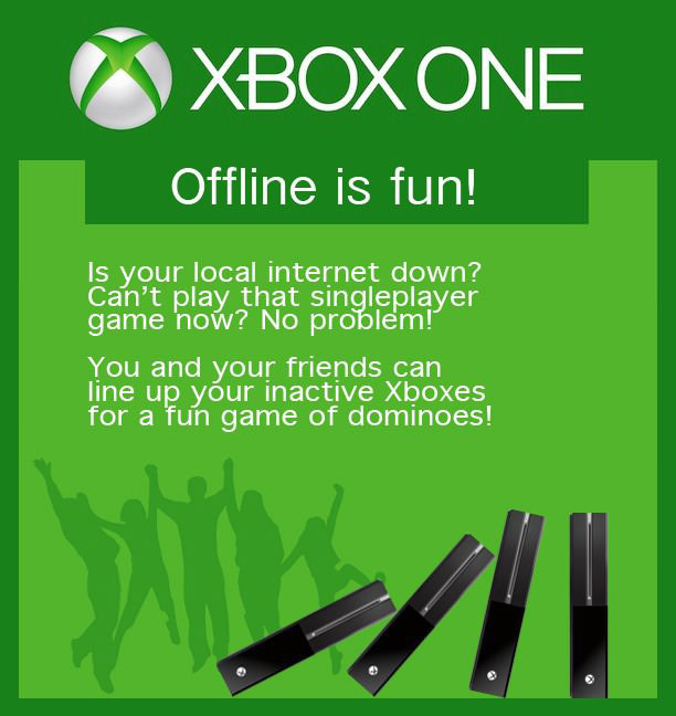 xbox one, offline is fun, parody, dominos