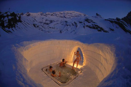hot tub, igloo, snow, cool