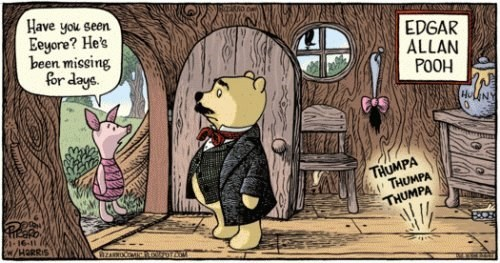 have you seen eeyore?, he's been missing for days, edgar allen pooh, comic, piglet at pooh's door, thumpa thumpa thumpa