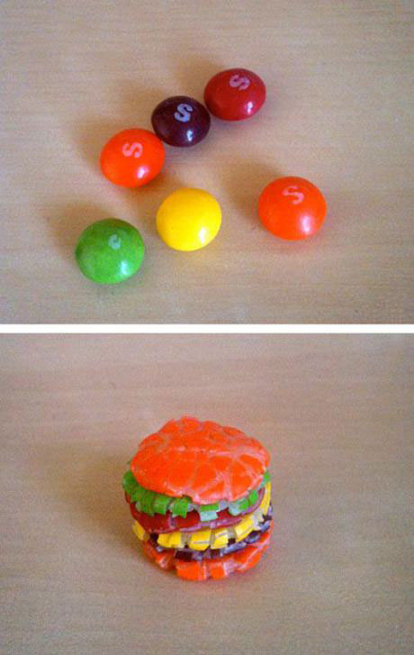 skittles, burger, candy