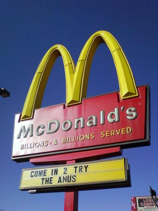 mcdonald's, sign, fail, anus
