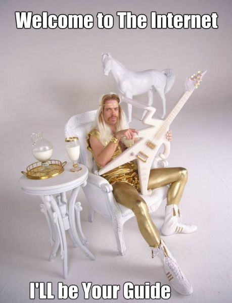 welcome to the internet I will be your guide, unicorn, guitar, horse, gold suit, meme, wtf