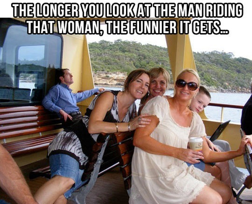 the longer you look at the man riding that woman, the funnier it gets, meme
