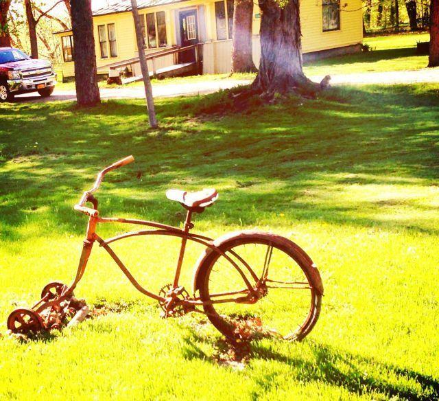 bicycle, lawn mower