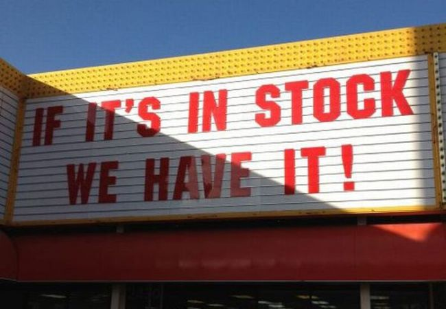 sign, ok, in stock, we have it, fail, store