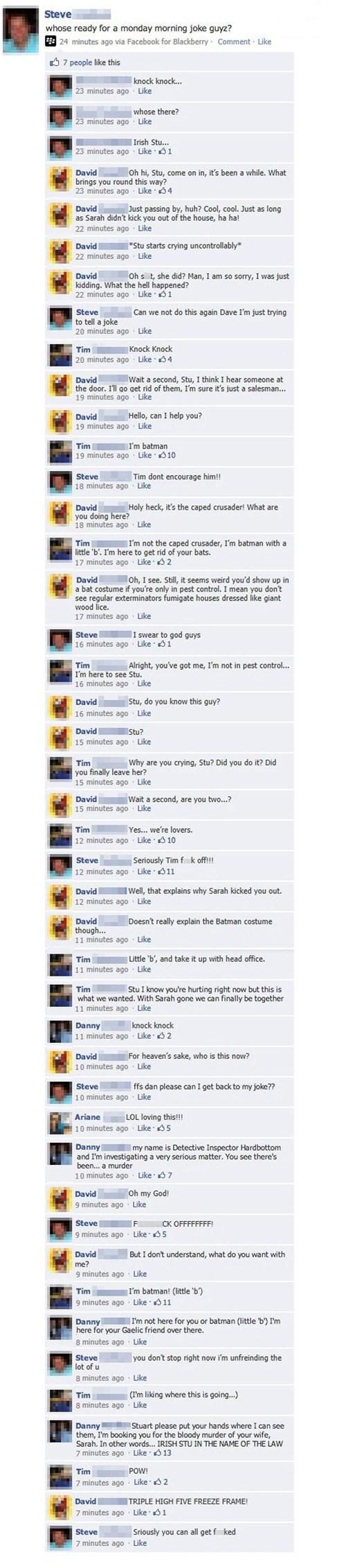 joke, facebook, comments, knock knock, lol