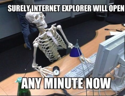 meme, skeleton, computer, headset, internet explorer