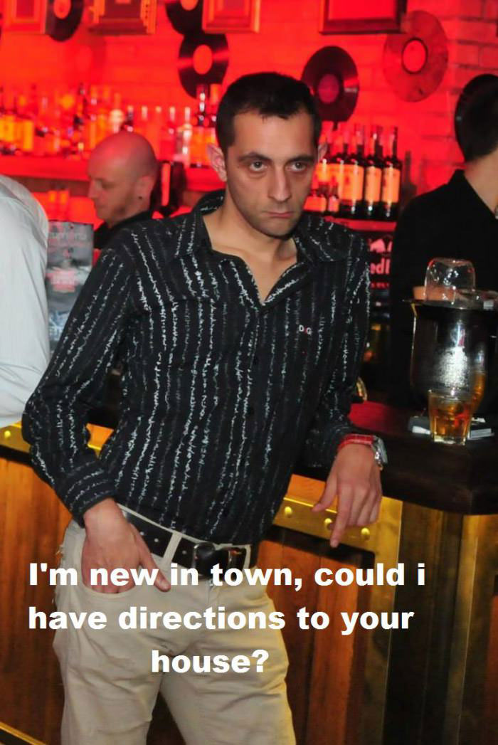 bad pick up line guy, meme, directions, new in town