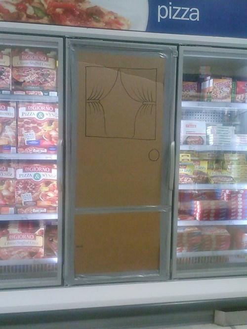 grocery store, freezer, window