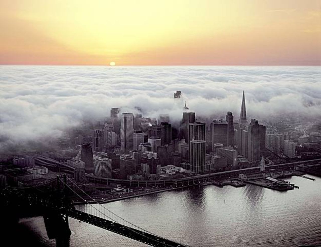 san francisco, fog, sunset, scenery