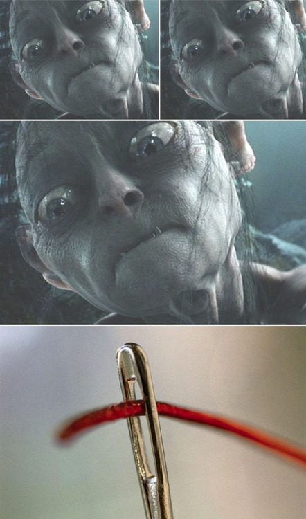 threading the needle, golum, face